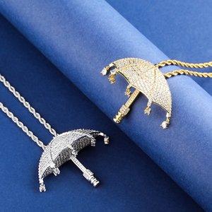 Micro Pavée Glacé pendentif parapluie Hip Hop Bijoux Cubic Zircon Pendentif Colliers Pour Homme Femmes