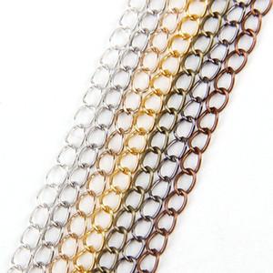 5 m / lote 0.8x4.5x6mm Correntes de Colar de Ferro de Metal 7 Cores Bulk Link Cadeias abertas Lote Para Diy Pulseiras Jóias Fazendo Encontrar