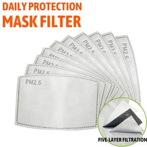 5 couches PM2,5 Activé Filtre à charbon Insert de protection Filtre médias Insérez Mat pour la bouche des adultes Masque LJJA3939 masque anti-poussière