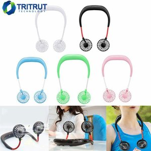 2019 Portable USB ricaricabile Neckband Lazy Neck Hanging Dual Cooling Mini Fan sport Fan girante a 360 gradi MQ50