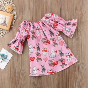 INS Bébés filles Jupe enfants moitié évasée manches imprimé animal Princesse Robes 2019 enfants Saint-Valentin Cute Cartoon One Piece Dress