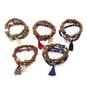 5 nuevos estilos de Bohemia Beach Cuentas de madera de múltiples capas de la borla del árbol de pulseras del encanto de la vida de los brazaletes para las mujeres pulsera de regalo mala de la muñeca