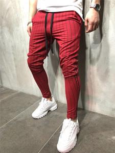 Erkek Spor Pantolon Sıska Spor Erkekler İpli Pantolon Nedensel Çizgili Koşu Kalem Pantolon Erkek Moda Giyim