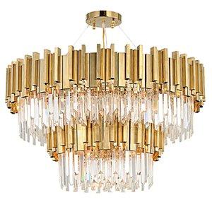 Кристалл светодиодные подвесные светильники Гостиная Столовая Золото Металл Круглый Двойные слои Кри Декоративное освещение
