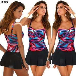 IASKY Plaj Giyim Yıkanma Suits kadar Kadınlar One Piece Mayo 2020 itme için renkli Mayo Elbise Yüzme Suit yazdır