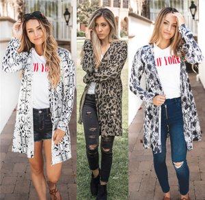 Leopard Womens Print Designer moda giacche allentato Big Pocket Womens Coats Abbigliamento casual femmine a manica lunga