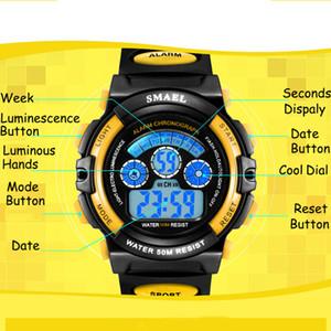 2020 SMAEL детские часы мальчики Кварцевые наручные часы студенческие спортивные часы 50 м водонепроницаемый будильник 0508 детские часы LED Digital