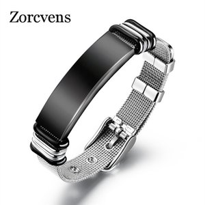 Modyle 2020 New Black Silver Color Stainless Steel Strap Bracelets for Man Cool Punk Fashion Watch Brands Bangle
