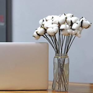 30 Pz cotone bianco naturale Boll palle Wire Stem 12 pollici di lunghezza Corone, Decor, off Stick Filiali Wired look bianco Cott
