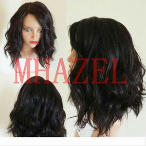 MHAZEL sexy curly side part medium brown lace virgin hair front wig 14inch picture 150%