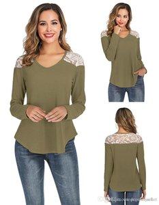 Fashion Designer Women T Shirts Lace Patchwork T Shirt V Neck Long Sleeved Waffle Tops Loose Female Clothing
