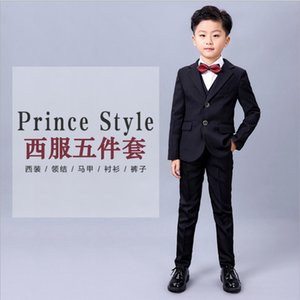 Boys Suits For Weddings Kids Prom Costume Blazers Pants Shirt Tie 8pcs Children School Clothing Set tuxedos birthday party suits