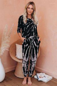 Pants Womens Designer Pajama Sets Loose Casual Two Piece Of Pajamas Tie Dye Fashion Womens Sleepwear Long Sleeve With Long