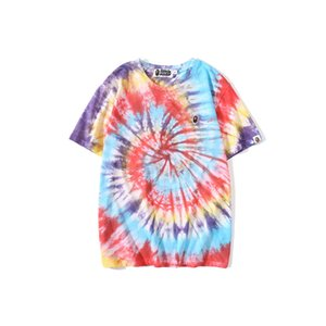 9Bape Summer new casual color tie dye round neck printed T-shirt for men abathing ape Tee Size M-3XL