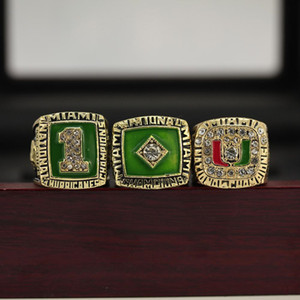 3pcs / set 1983 1989 1991 Miami Hurricanes College Football Nationalmeisterschaft Ring American Football Fans Souvenirs Ring Geschenke für Freunde