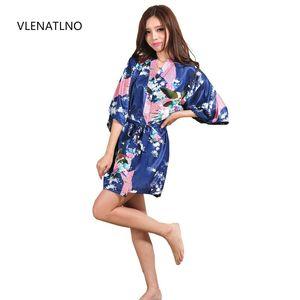 Silk satin fabric soft silky short kimono robe fashion patterns ladies comfortable pajamas designed for ladies