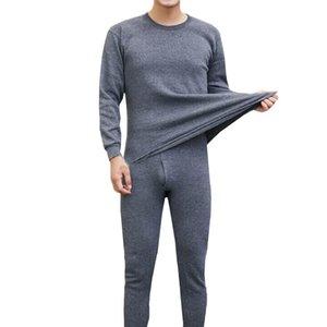 2pcs Masculina Inverno Underwear térmica Suit Collar Circular Tamanho Grande manga comprida Pure Color Roupa Quente Set Top + Pants SH190927