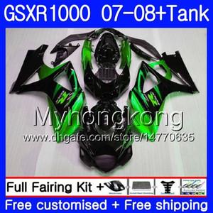 Kit + serbatoio per SUZUKI GSX R1000 GSXR-1000 GSXR 1000 2007 2008 301HM.59 GSX-R1000 Verde nero caldo 07 08 Corpo K7 GSXR1000 07 08 Carenatura 7Gifts