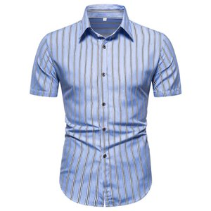 Men Shirt Striped Print 2020 Summer Casual Short Sleeve Shirt Soft Men's Shirts Comfort Slim Fit Man Comfortable Men's Clothing