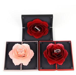 3D Rose Flower Ring Box Clásico y elegante Grace Marry Boda Joyero 3D Pop Up Propuesta Anillos Holder Case Negro / Rojo / Rosa / Azul