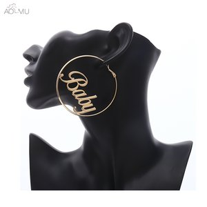AOMU Fashion Exaggerate Baby Letter Metal Matte Big Hollow Round Circle Large Loop Hoop Earrings Gift for Women Girl Birthday