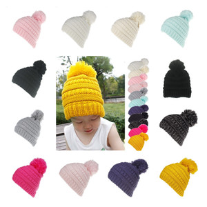 Pompom Newborn Baby Hat Cap Knitted Warm Winter Hats For Kids Trendy Hats Winter Knitted Fur Poms Beanie Slouchy Outdoor Hats KKA7525