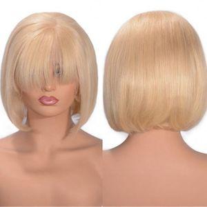 613 캄보디아 인간의 머리카락 밥 레이스 프론트 가발 자연 직선 똑바로 금발 머리 레이스 가발 Pre 뽑힌 헤어 라인
