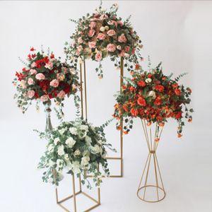 Support de fleur en soie artificielle boule de fleurs pour pièce maîtresse de mariage maison chambre décoration partie fournitures bricolage artisanat fleur 7 couleur