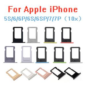 10pcs / lot sostenedor de la bandeja de la ranura tarjeta SIM original para el / sostenedor de la ranura del adaptador de iPhone 5S / 6 / 6S / 6P / 6S + / 7 7P SIM bandeja contenedora