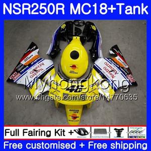 Corps pour HONDA NSR 250 R MC18 PGM2 NSR 250R NS250 NSR250R 88 89 262HM.3 MC16 NSR250 R RR NSR250RR 1988 1989 88 89 Revêtement jaune blanc chaud