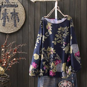 Vintage Women's Floral Blouse ZANZEA 2020 Printed Summer Tops Casual Long Sleeve Shirts Female O Neck Blusas Oversized Tunic