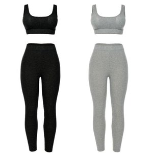 Women Ribbed Knitted 2 Piece Sport Tracksuit Set Push Up Padded Tank Crop Top High Waist Leggings Long Pants Workout Fitness Bod