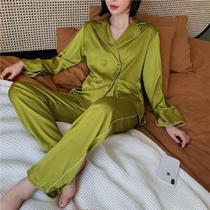 Kadın Pijama Moda Katı Renk Çift Breasted İki Adet Pantolon ayarlar Rahat Ev pijamalar Luxury Womens