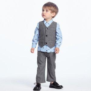 Baby Boys Gentleman Suits Infant Newborn Autumn Baby Clothes Sets Kids Waistcoat+Shirt+Pants 3 Pcs Sets Children Suits
