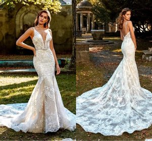 Plunging V Neck Mermaid Wedding Dresses Sexy 2020 Backless Appliqued Lace Robes De Mariee Court Train Crystals Belt Bridal Gowns AL6255
