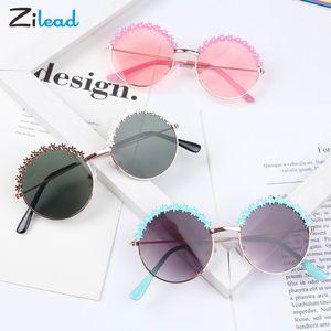 Marco redondo de las gafas de sol metálico de Zilead niños personalizados manera del bebé gafas de sol de la sesión fotográfica de la playa Parasol Glasses