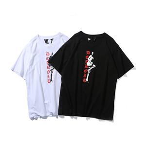 Vlone camiseta Vlone Hombres Mujeres camiseta para hombre del estilista de alta calidad Negro camiseta blanca 19SS Tees tamaño S-XL