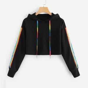 Fashion Female Long Sleeve Hoodie Pullover Sweatshirt Rainbow Hoodies Women's Sweatshirt Long-sleeved Hooded Tops Lace Up Tops
