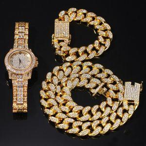 الهيب هوب بلينغ مجوهرات رجالي قلادة مثلج خارج الماس ميامي كوباني رابط سلسلة الذهب والفضة ووتش القلائد سوار مجموعة
