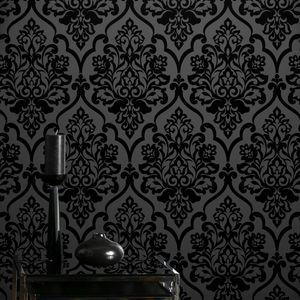 Ev dekorasyonu için sıcak satış yüksek dereceli Klasik Gizem Siyah Kadife akın Damask duvar kağıdı Tekstil Wallcovering