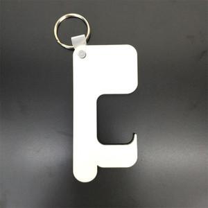 Sublimação Keychain livre de germes chaveiro sem contato Maçaneta chaveiro de madeira DIY em branco Chaveiros Segurança Touchless Door Opener A03