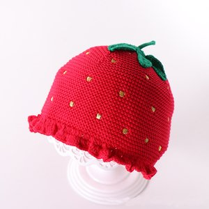 Autumn and winter sweet strawberry knit hat female baby baby hat children's head cap child warm hat WCW782