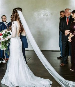 Top Quality Charming Lace Wedding Dresses Illusion Long Sleeves Sexy Backless Sweep Train Mermaid Country Garden Bridal Gowns