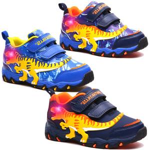 Dinoskulls Niños Zapatos dinosaurio 3D LED zapatillas de chicos Light Up Deporte tenis de los niños Entrenadores 2019 otoño del bebé del Calzado