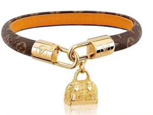 Mode Louis Bracelets en cuir pour homme femme Concepteurs bracelet en cuir motif fleur Bracelet bijoux en perle avec la boîte