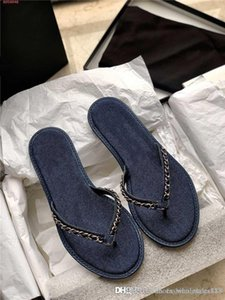 Spring summer 2020 new jean chain-link flip-flops ladies chic metallic chain-knitted flip-toe flat casual sandals slippers With original box