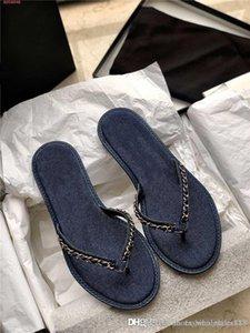 Printemps / été 2020 nouvelles sandales plates flip-toe chaîne tricotés métalliques dames tongs-jean grillagée casual chic pantoufles avec boîte d'origine