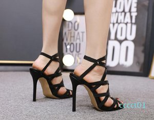 Sexy designer cross tied sandals leather 12.5cm stiletto high-heeled summer banquet party shoes size 35-40 ct1