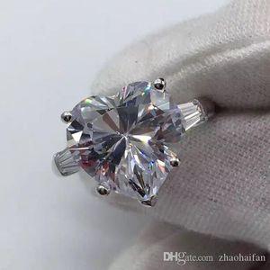 ZHF Jewelry Security Logo 100% Solid 925 стерлингового серебра кольца для женщин 4CT SONA CZ бриллиантовое обручальное кольцо изысканные ювелирные изделия