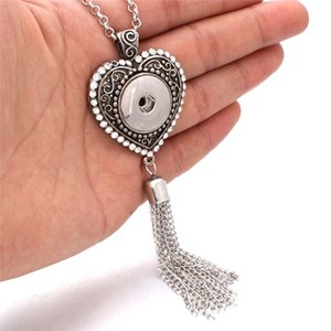 5 Color New Snap Jewelry Vintage Long Tassel Snap Pendant Necklace Fit 18mm Buttons Metal Long Chain Necklace For Women